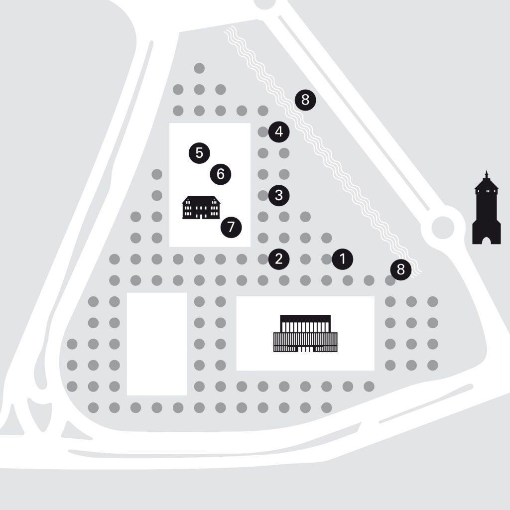 Lageplan Erinnerungspfad Bruderhausareal Reutlingen