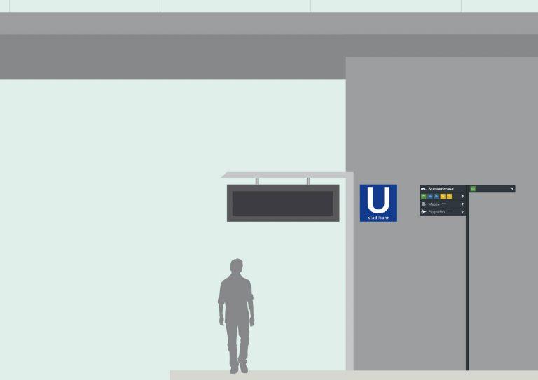 Leitsystem, Orientierungssystem, Mobilitätspunkte Leinfelden-Echterdingen